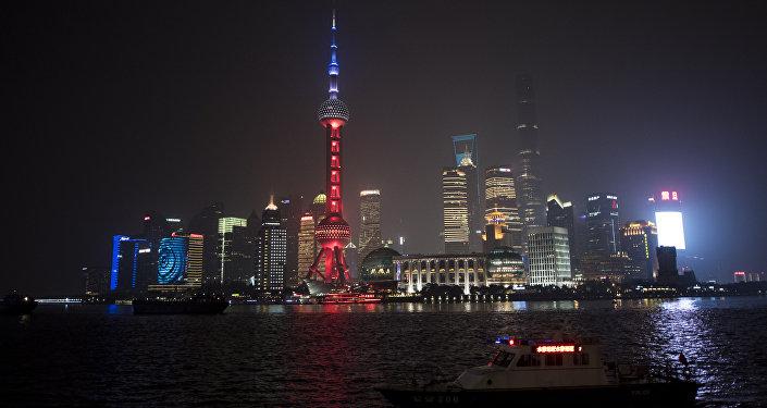 Distrito financiero Pudong en Shanghái, China