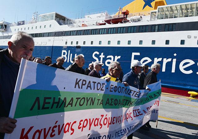 Huelga de marineros en Grecia en noviembre de 2015