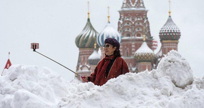 Una turista en Moscú