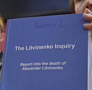 Marina Litvinenko con un copia del Sumario del caso de Litvinenko