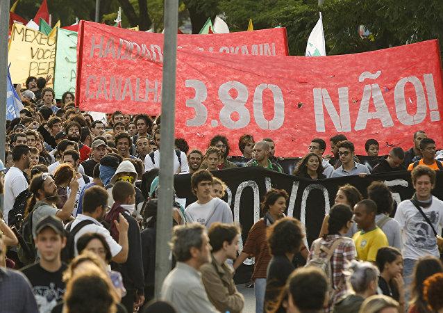 Manifestación en Sao Paulo, Brasil