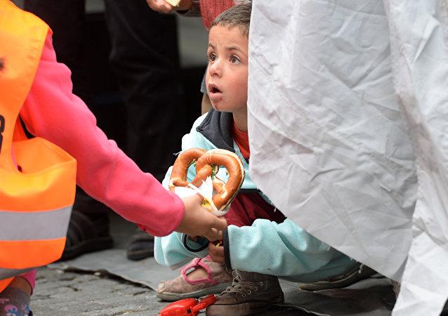 Niño refugiado en Múnich