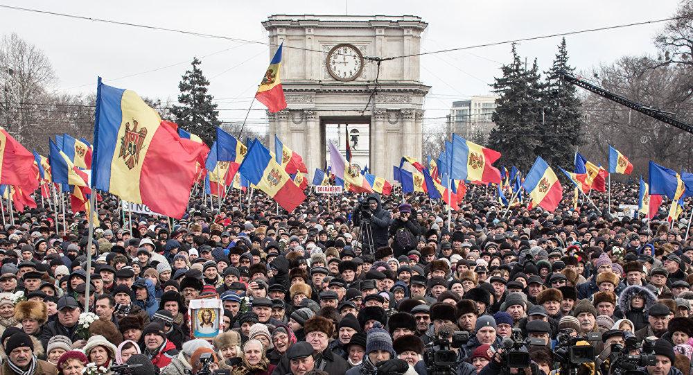 Manifestación antigubernamental en Moldavia
