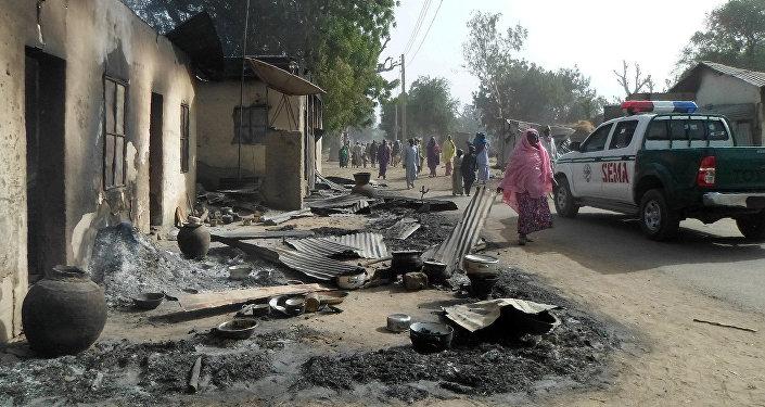 Lugar del atentado cometido por el grupo Boko Haram en Nugeria