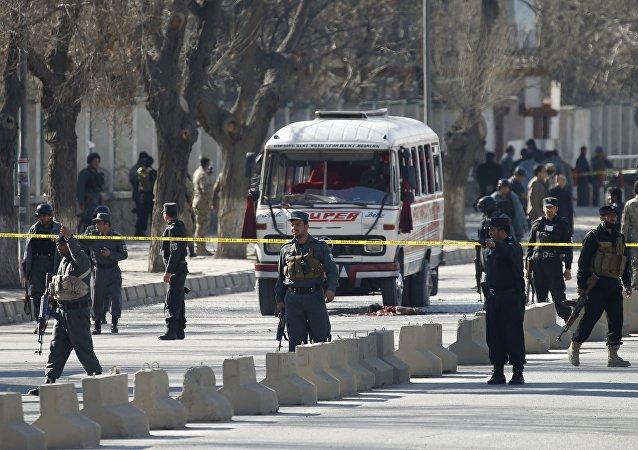 Lugar del ataque suicida en Kabul