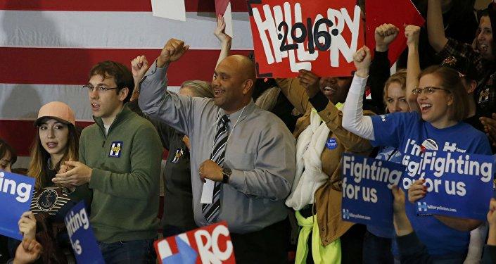 Partidarios de Hillary Clinton en Iowa, EEUU
