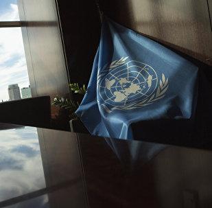La bandera de la ONU en la sede de la entidad en Nueva York (archivo)