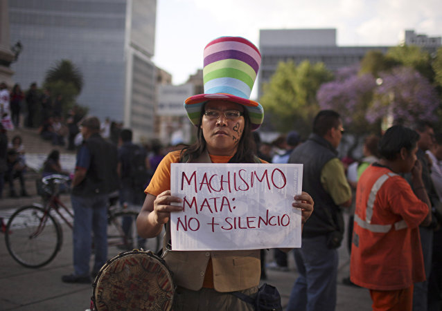 Una manifestación contra machismo en la Ciudad de México