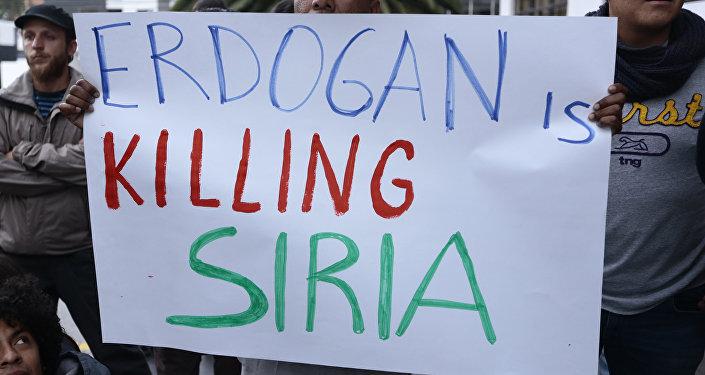 Una demostración en Quito contra el mandatario turco Recep Tayyip Erdogan