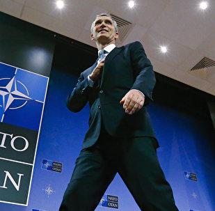 El secretario general de la OTAN Jens Stoltenberg después de una conferencia en Bruselas Bélgica. El 10 de febrero del 2016