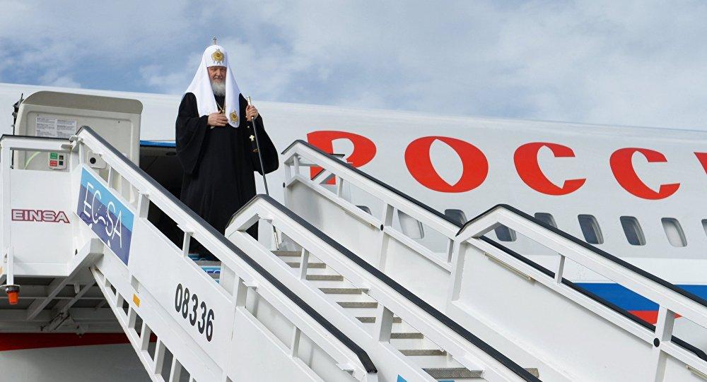 Patriarca Kiril en el aeropuerto de La Habana