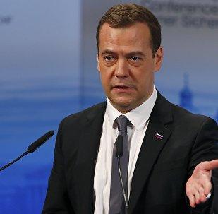 Dmitri Medvédev, el primer ministro de Rusia, pronuncia un discurso en la Conferencia de Seguridad de Múnich