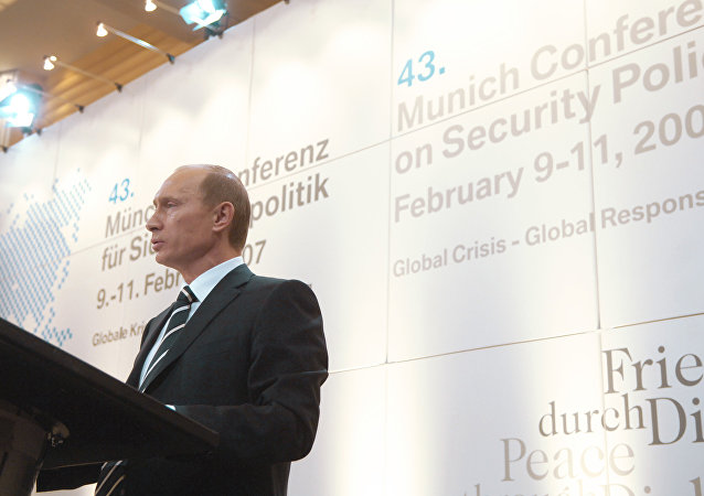 Presidente ruso, Vladímir Putin en la conferencia de seguridad en Múnich en 2007