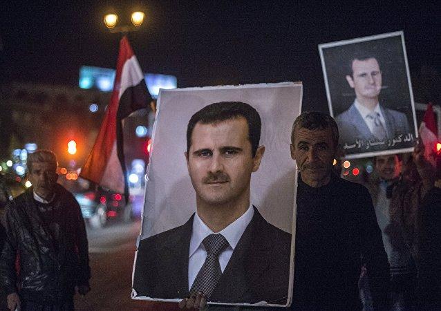 Partidarios de Bashar Asad en Damasco