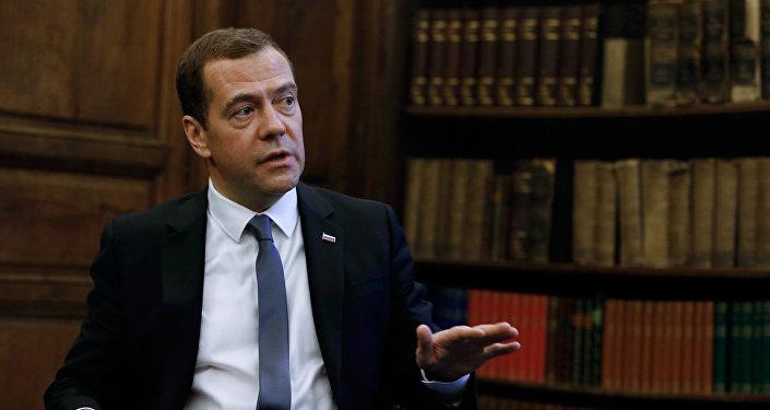 Dmitri Medvédev, el primer ministro de Rusia, en una entrevista con la revista Time