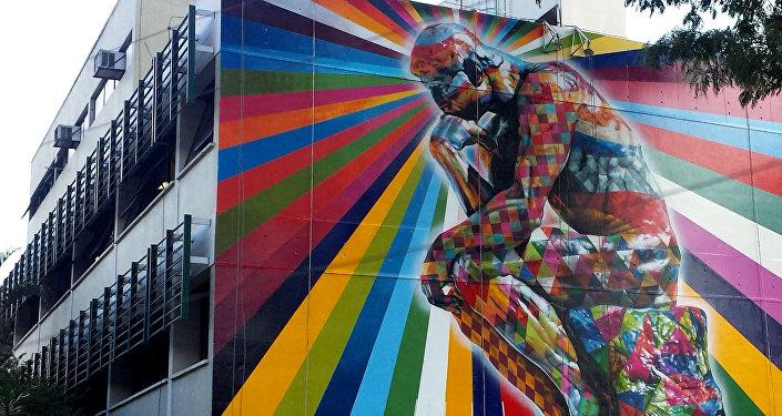 Mural Un pensador en Sao Paolo, Brasil