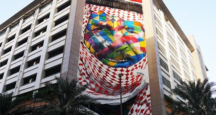Mural Un beduino en Dubai, EAU