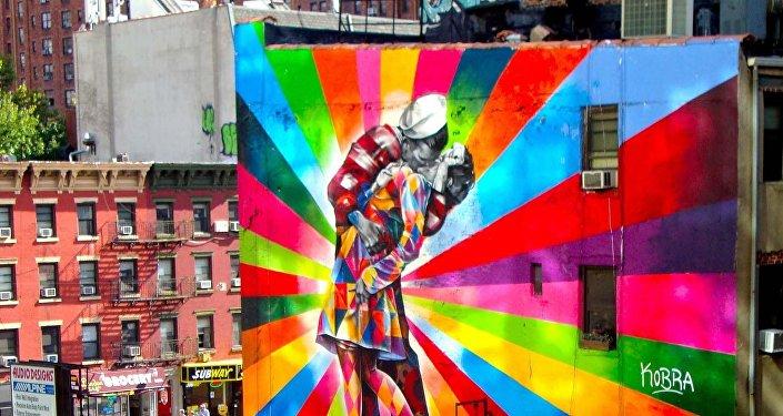 Mural Un beso en Nueva York, EEUU