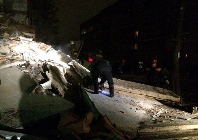 Consecuencias de una explosión de gas en Yaroslavl, Rusia