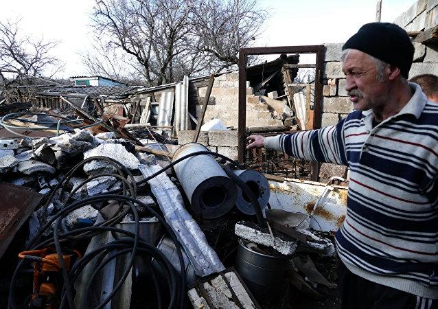 Casa destruida en la región de Donetsk