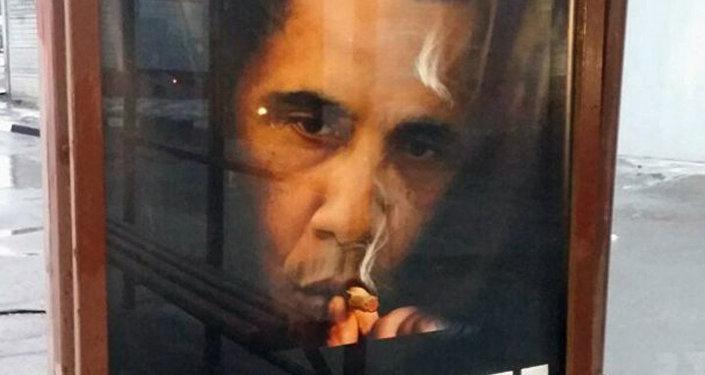 Póster con imagen de Barack Obama, el presidente de EEUU