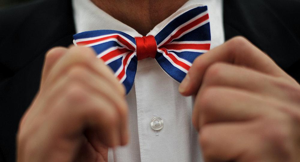 Corbata de lazo con la bandera del Reino Unido