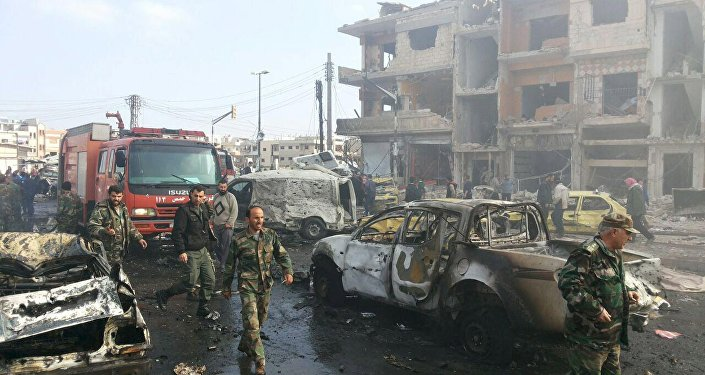 Lugar del atentado en la ciudad de Homs