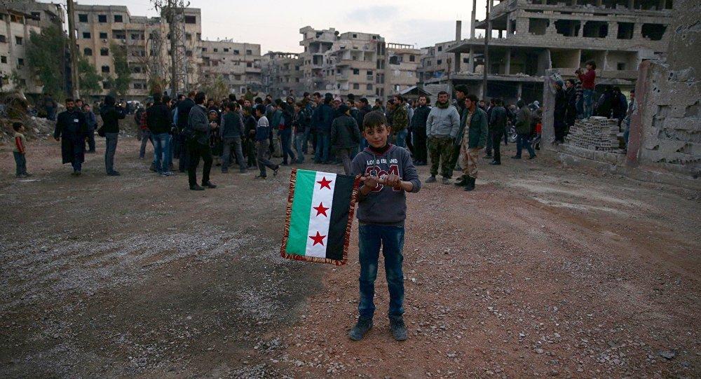 Un niño con la bandera de la oposición siria