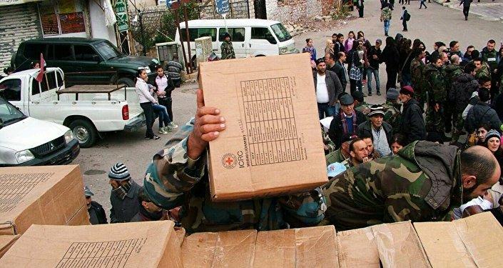 Entrega de ayuda humanitaria en Kessab, Provincia de Latakia