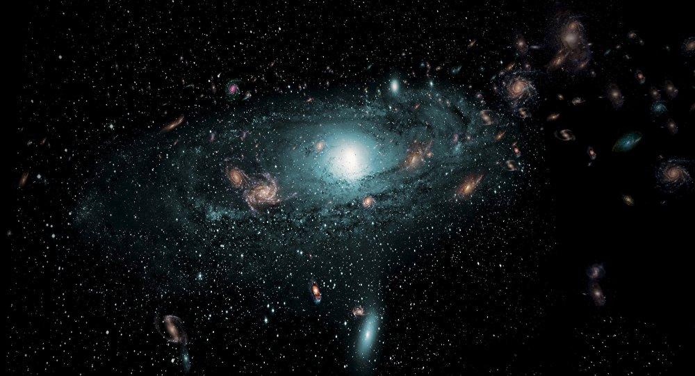 Una impresión artística de las galaxias en el espacio