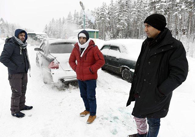 Refugiados en la frontera entre Rusia y Finlandia