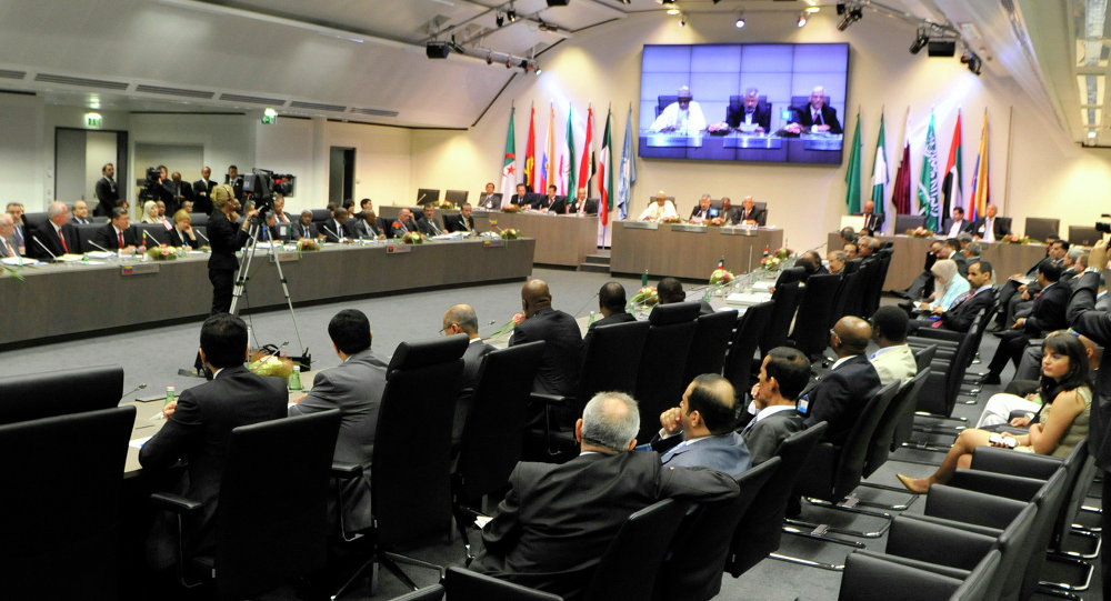 OPEC ministers and delegates gather for a meeting of the Organization of the Petroleum Exporting Countries (OPEC) at its headquarters in Vienna, Austria. (File)
