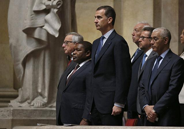 Rey Felipe VI en la la ceremonia de inauguración de Marcelo Rebelo, nuevo presidente de Portugal