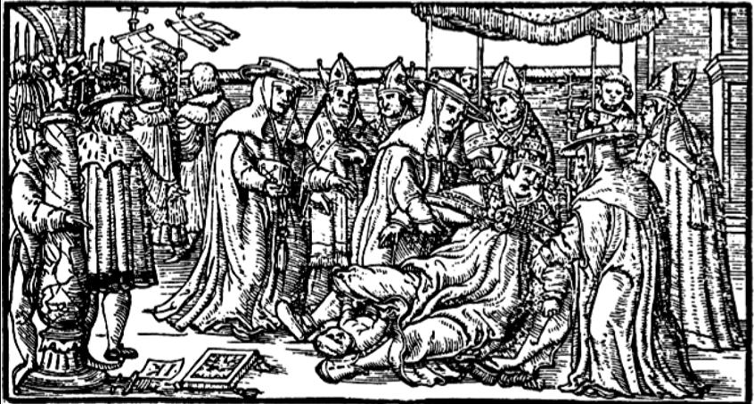 La Papisa Juana da a luz a un niño durante una procesión