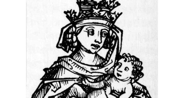 Representación medieval de la papisa Juana