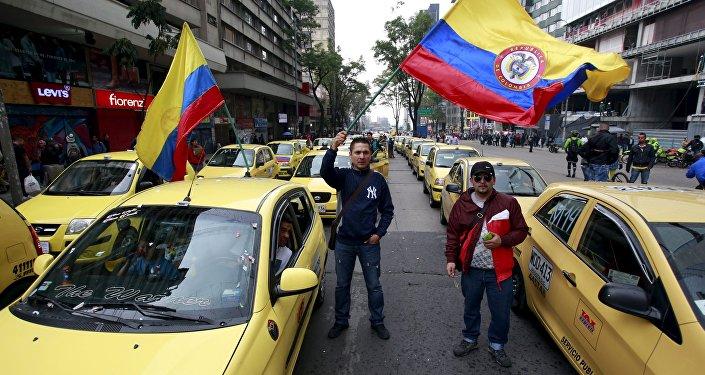 Protestas de taxistas colombianos en contra de Uber, Bogotá