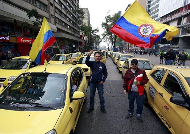 Protestas de taxistas colombianos en Bogotá (archivo)