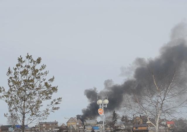 Incendio en almacén de fuegos artificiales en Ufá