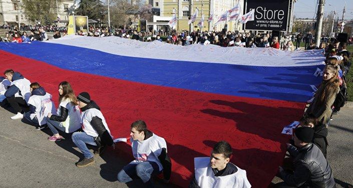 Celebración del segundo aniversario del referendo de Crimea, Simferópol, 16 de marzo, 2016