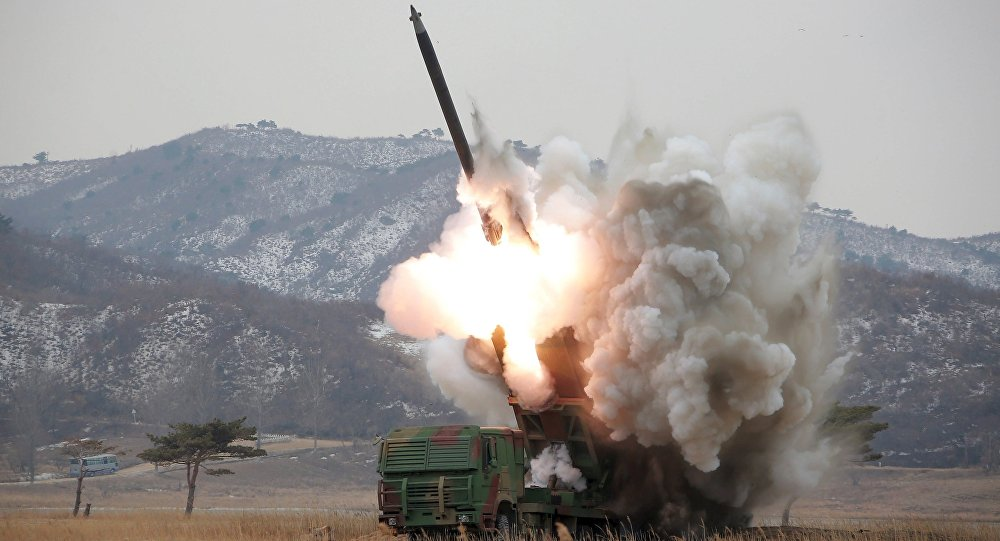 A new multiple launch rocket system is test fired in this undated file photo released by North Korea's Korean Central News Agency (KCNA) in Pyongyang