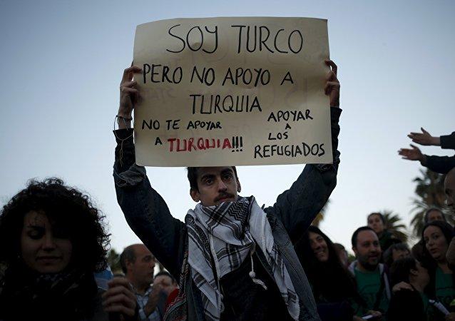 Protesta contra la firma del acuerdo Turquía-UE