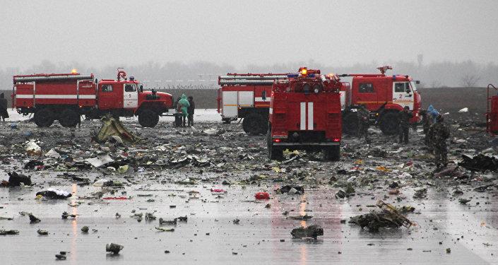 El lugar de la catástrofe del Boeing-737-800 en el aeropuerto de Rostov del Don
