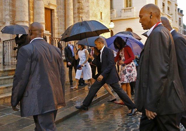 Presidente de EEUU Barack Obama y su familia en La Habana
