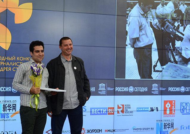 Церемония награждения победителя и призеров Международного конкурса фотожурналистики имени Андрея Стенина