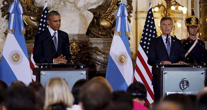 Presidente de EEUU, Barack Obama y presidente de Argentina, Mauricio Macri