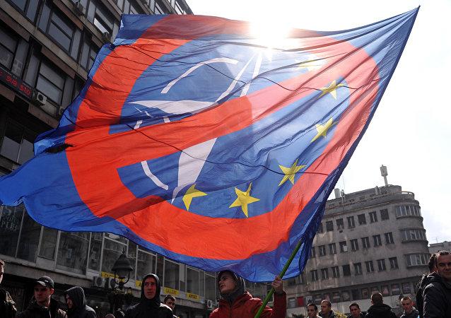 Manifestación anti-OTAN en Belgrado