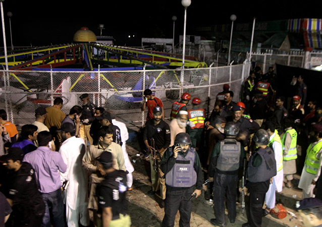 Lugar del atentado en Lahore, Pakistán
