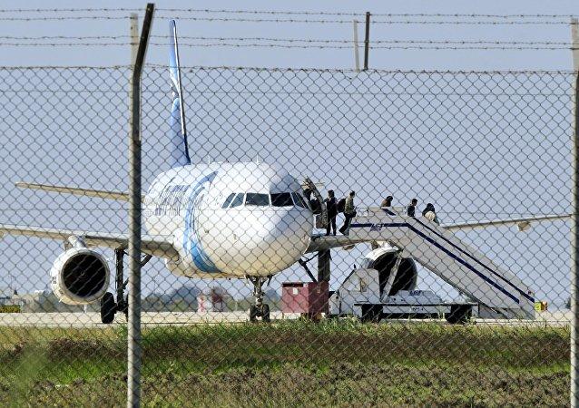 El avión de Egyptair Airbus A320, Chipre, el 29 de marzo de 2016
