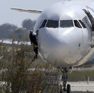 El A320  en el aeropuerto de Lárnaca, Chipre