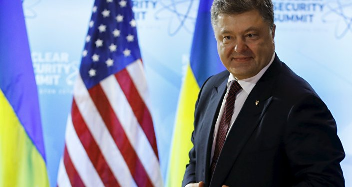 Petró Poroshenko, el mandatario de Ucrania, durante su visita a la Cumbre nuclear en Washington